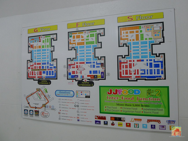 JJ Mall food court is located on the S Level (second floor)...
