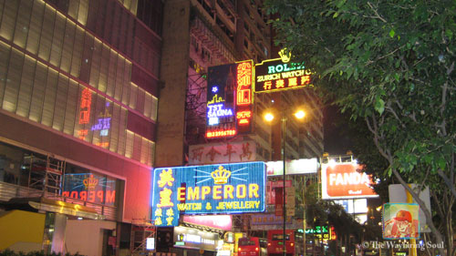 Some very famous neon signs on Nathan Road...
