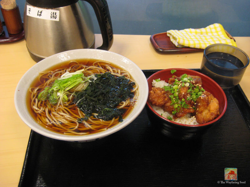 Hot bowl of soba noodles with fried chicken and rice - only $8USD at the time - it was awesome!...