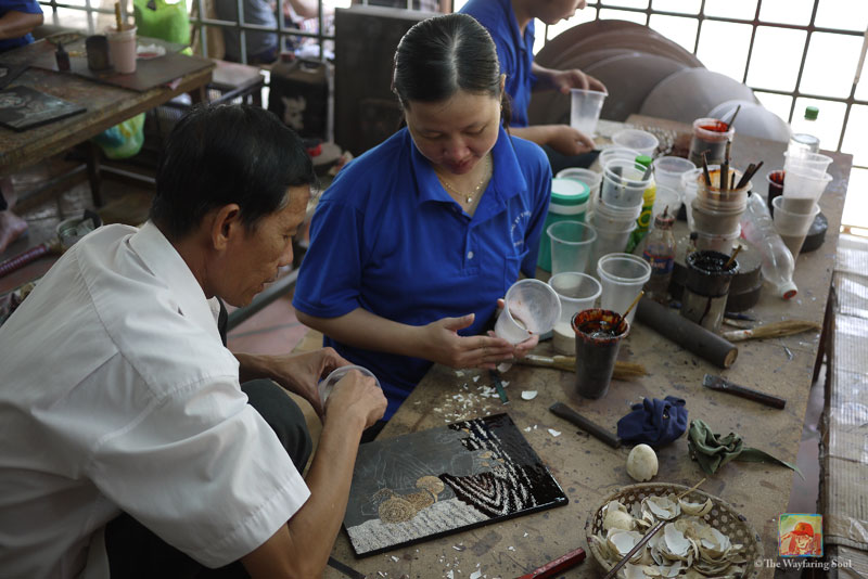 On the job training at a handcraft workshop...