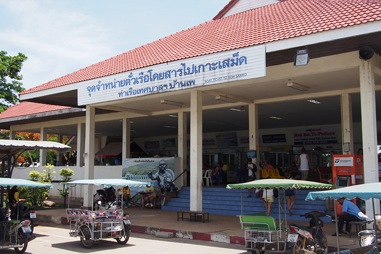 This is the Ban Phe pier ticketing office for boats to Koh Samet...