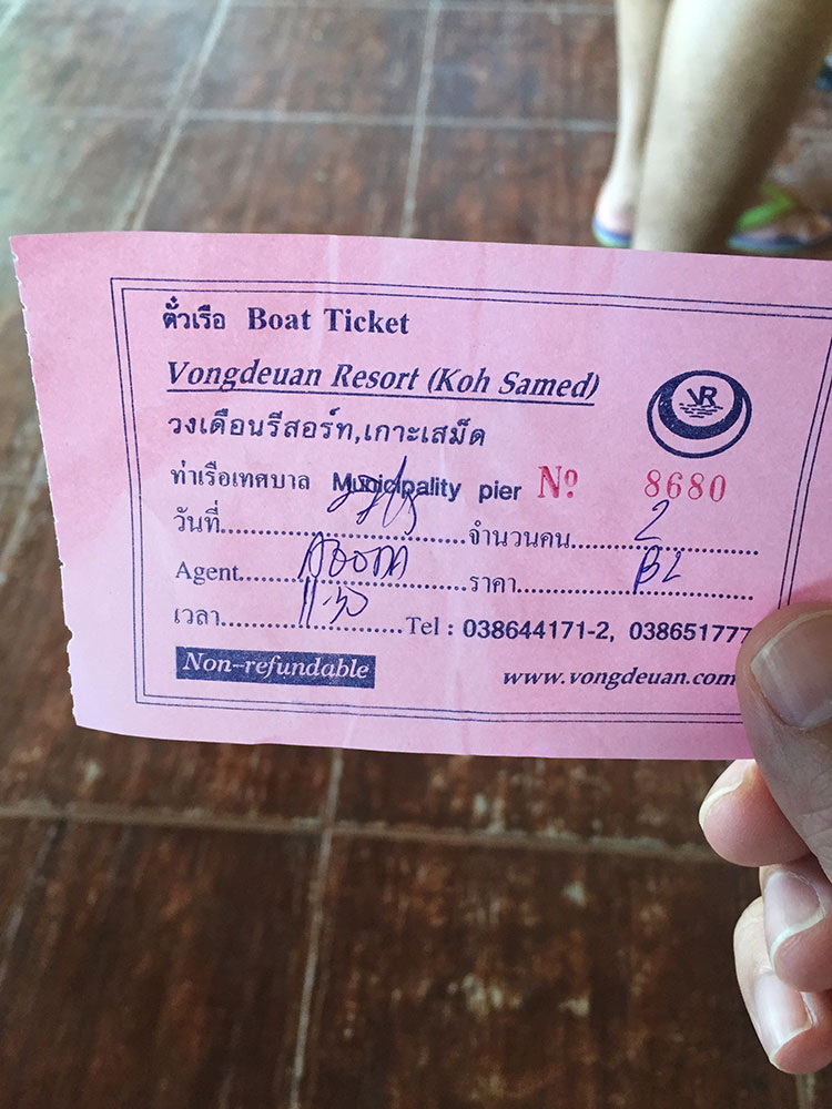 Be sure to hold onto your ticket. They'll collect your ticket on the ferry boat...