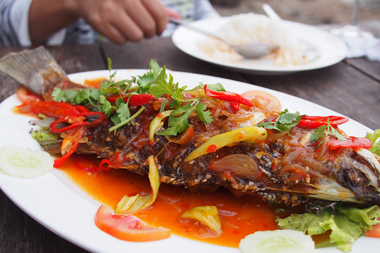 Fresh fried fish with tamarind sauce...