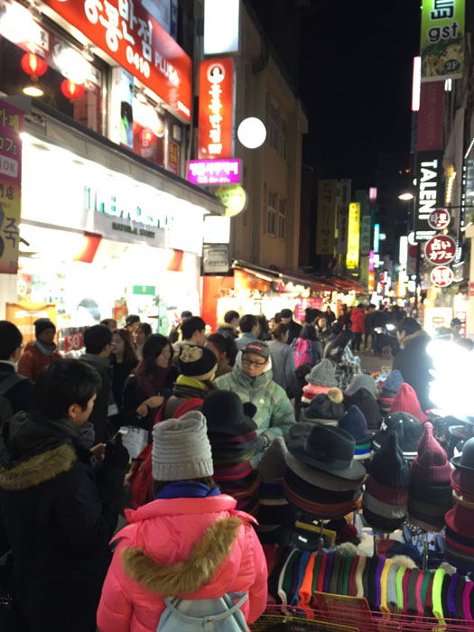 Myeongdong comes alive at night...