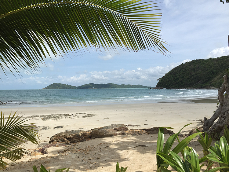 Praw Bay is the quietest beach with only one resort...