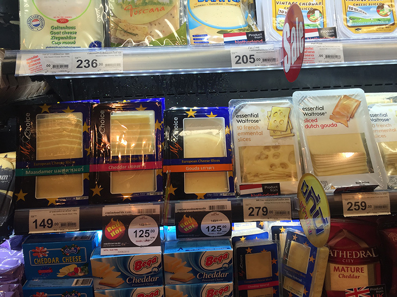 Imported swiss cheese ain't cheap in Thailand...