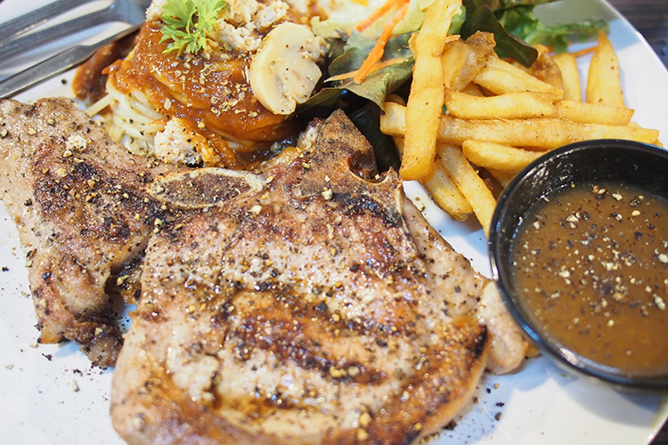 160THB for 8oz. grilled pork chop with some spaghetti and fries. Not bad at all...