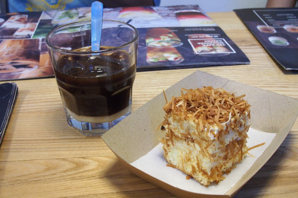Classic Vietnamese coffee with coconut cake, a real knockout combination...