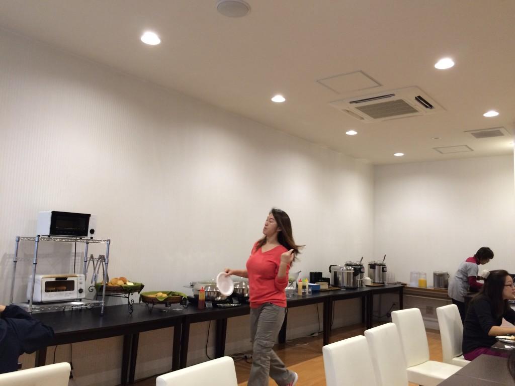 Hotel cafeteria with free breakfast buffett...