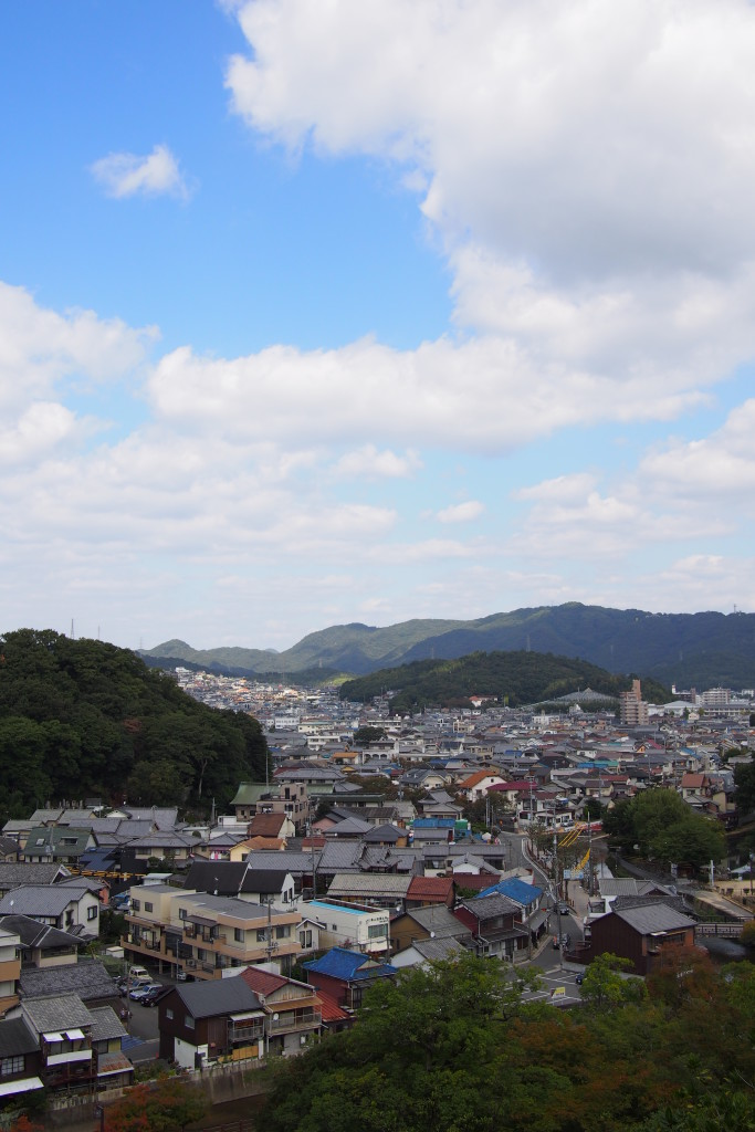 From up in Himeji Castle you can see the city below...