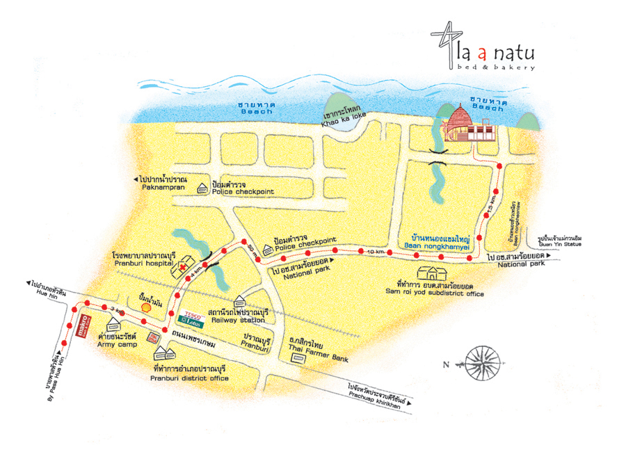 la a natu bed and bakery map