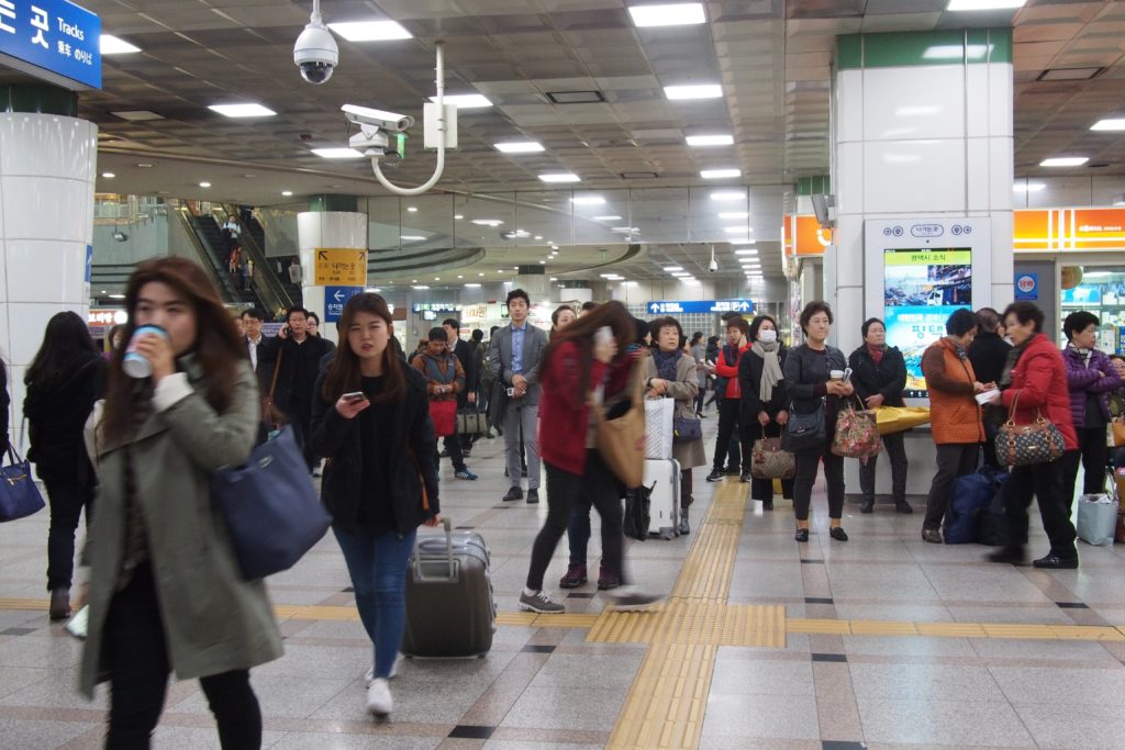 This is Suwon Station. Lots of people around either waiting for someone or waiting to get somewhere...