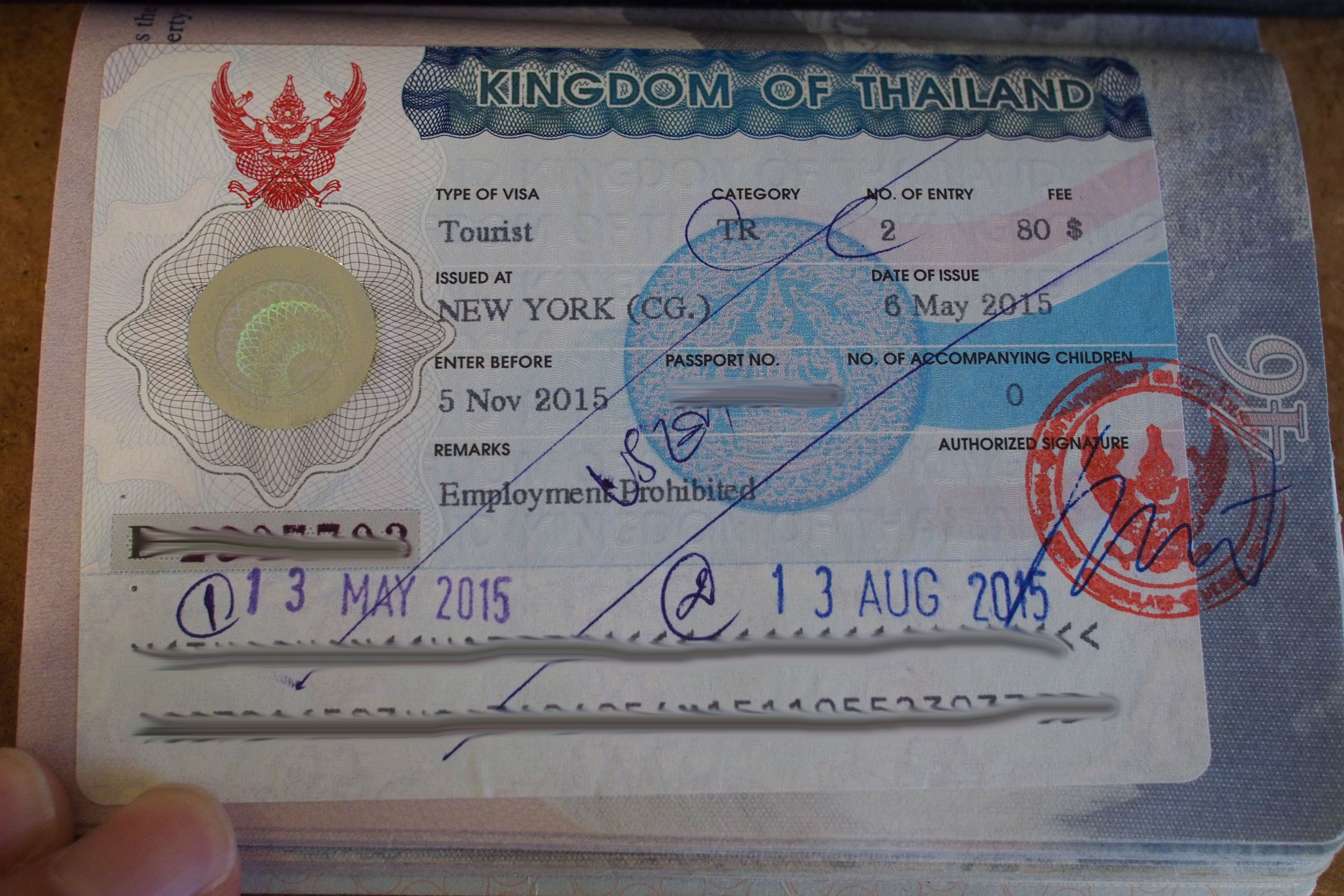 Discontinued double entry Thai tourists visa
