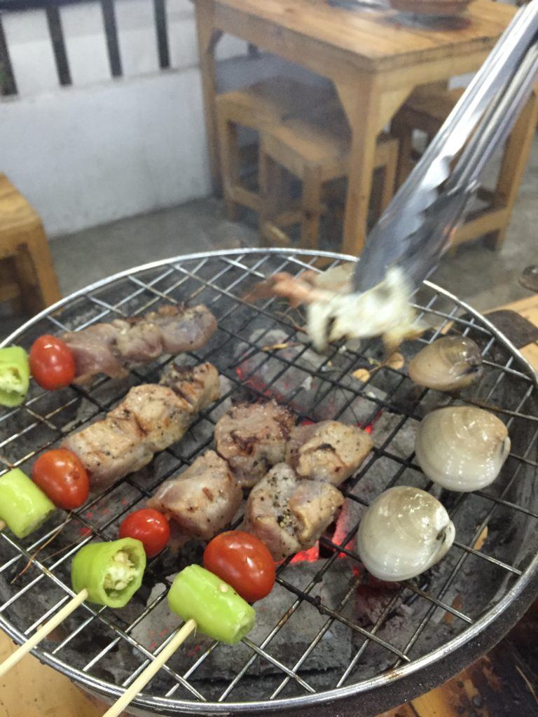 Grilled pork skewers Yok Talay Bangkok