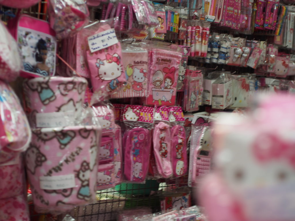 All sorts of Hello Kitty items are sold in Sampeng Lane...