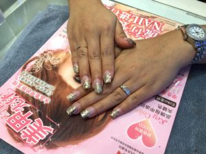 Acrylic extension at Glamour Girls Nail Art Salon