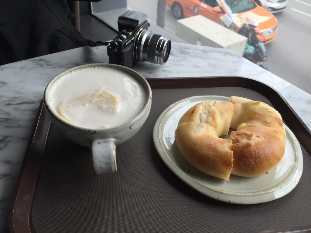 Ginger Latté and Bagel in Seoul