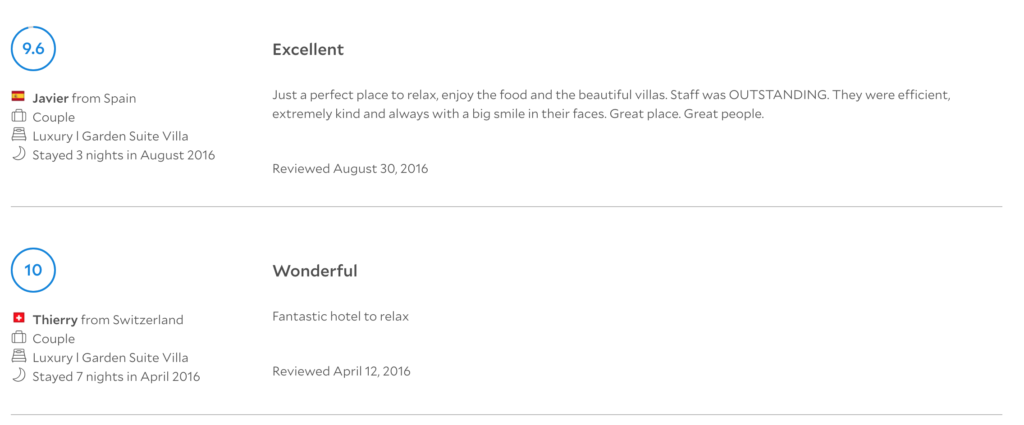 Here's just a few reviews I took a screenshot of a resort I stayed in Bali...